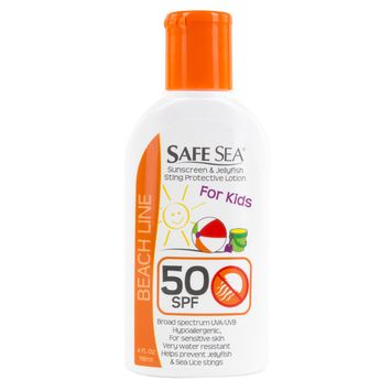 Safe Sea 4 OZ Sunscreen with Jellyfish Sting Protection Lotion with SPF 50 for Kids