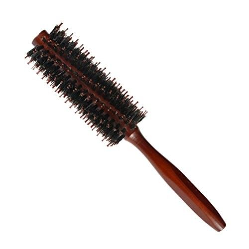 Lurrose Bristles Round Hair Comb,Twill Brush with Wood Handle for Hair Drying Styling Curling