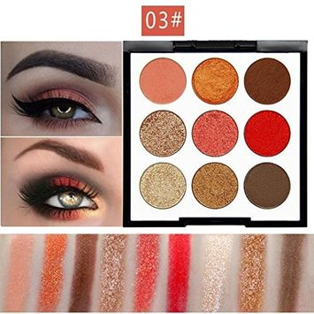 SMTSMT NOVO 9 Color Pearl Glitter Eye Shadow Powder Palette Matt Eyeshadow Cosmetic Foundation Blush Highlighters Makeup Palette Set