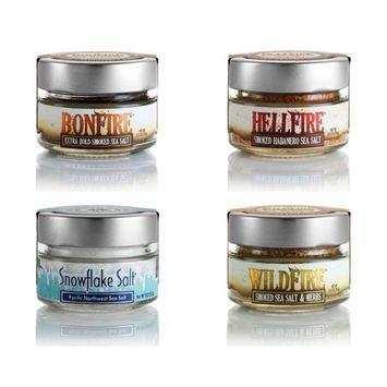 Saltworks Flavored Salts 2.5 ounce Glass Jars (4 Flavor Pack)