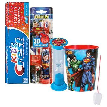 Super Hero Inspired 5pc Bright Smile Oral Hygiene Set! Superman Spin Toothbrush, 3D Brush Cap, Brushing Timer, Toothpaste & Mouthwash Rinse Cup! Plus Bonus