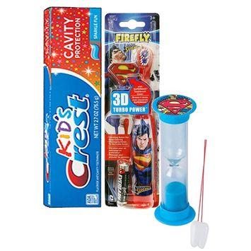 Super Hero Inspired 4pc Bright Smile Oral Hygiene Set! Superman Turbo Powered Toothbrush, 3D Brush Cap, Brushing Timer & Crest Kids Toothpaste! Plus Bonus