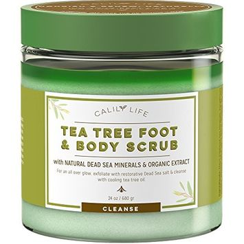 Calily Life Organic Anti Fungal Tea Tree Body and Foot Scrub with Dead Sea Minerals, 24 Oz. – Exfoliating, Powerful Cleansing and Moisturizing - Helps Against Acne, Warts, Jock Itch, Cellulite, etc.