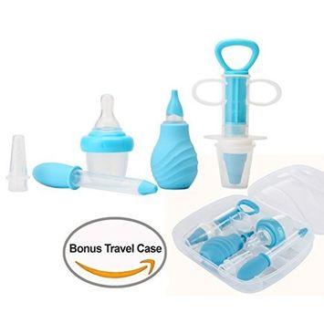 Kidsmile 6-Piece Medical Kit with Bonus Travel Case, Baby Infant Toddler BPA Free Medical Kit Medicine Dispenser, Sure-Dose Medicine Dropper / Infant Baby Essentials Kit Medicine Set - Blue