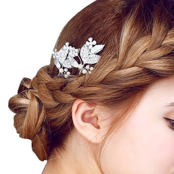 Happy Hours - 2 Pcs Women Pearl Rhinestone Handmade Hairpins / Floral Shaped Design Barrette Clips for Wedding Prom Bridal Bridesmaid Jewelry Accessories(#6)