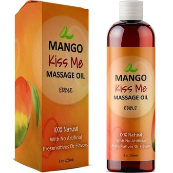 Healing Massage Therapy Oil for Men & Women - Relaxing Therapeutic Edible Mango Body Oil for Healthy Hydrated Skin - Anti-Aging Natural Oils Jojoba Sweet Almond & Coconut Oil for Skin & Muscle Relief