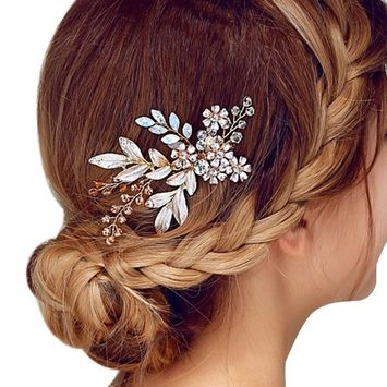 Happy Hours - Women Pearl Rhinestone Handmade Hairpins / Floral Shaped Design Barrette Clips for Wedding Prom Bridal Bridesmaid Jewelry Accessories