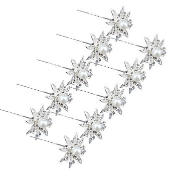 Happy Hours - 10 Pcs White Floral Alloy Pearl Crystal Hair Pins Clips for Wedding, Prom, Dance and Party