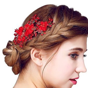 Happy Hours - Women Pearl Rhinestone Handmade Hairpins / Floral Shaped Design Barrette Clips for Wedding Prom Bridal Bridesmaid Jewelry Accessories(#2