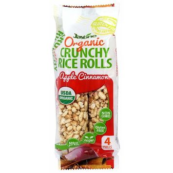 Jayone Organic Crunchy Rice Rolls, Apple Cinnamon Flavor, USDA Organic, 4 Rolls 2.1 ounce, 60kcal per Roll, Vegan, Gluten Free, Non-GMO, Product of Korea