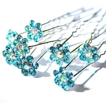 Happy Hours - 6 Pcs Handmade Sunflower Hair Pins / U-Shaped Clips Barrette for Wedding Bridal Bridesmaid Party Prom Jewelry Accessories