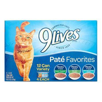 Del Monte 9 Lives Variety Pate Favorites Wet Cat Food 5.5 oz, 12 pk