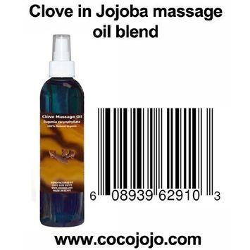 8 Oz 100% Natural Clove in Jojoba Massage Oil Blend - Eugenia Caryophyllata - Hohoba - Simmondsia Chinenis