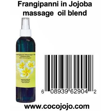 8 Oz 100% Natural Frangipani in Jojoba Massage Oil Blend - Plumeria Alba - Hohoba - Simmondsia Chinenis