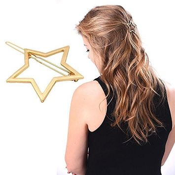 HuntGold Metal Hollow Out Pentagram Star Hair Clip Hairpin Clamps Hair Comb