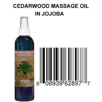 8 Oz 100% Natural Cedarwood Massage Oil in Jojoba - Cedrus Atlantica - Hohoba - Simmondsia Chinenis