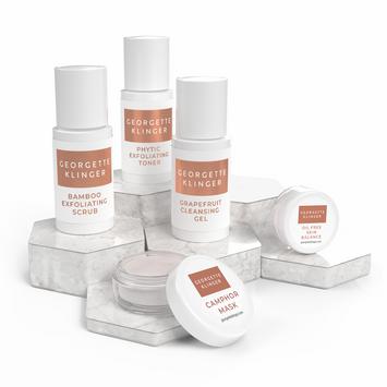 Georgette Klinger 5 PC Skincare Sample Kit – Sets Include Scrub, Cleanser, Toner, Mask & Moisturizer – Choose Dry/Sensitive or Combination/Oily Facial Products
