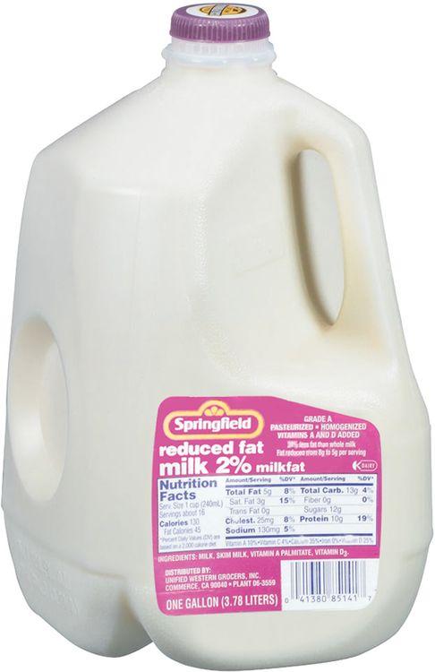 Springfield 2% Reduced Fat  Milk 1 Gal Jug