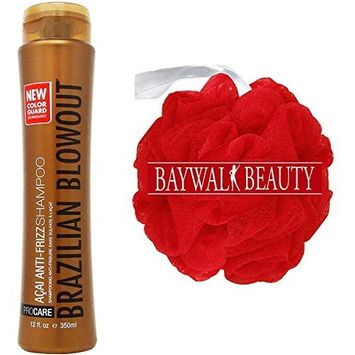 Brazilian Blowout Acai Anti Frizz Shampoo, 12 Ounce With FREE Shower Pouf (Colors May Vary)