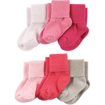 Roll Cuff Socks, 6-Packs (Baby Girls) [baby_clothing_size: baby_clothing_size-12-18m]