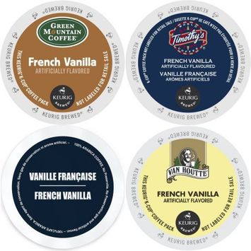 Faro Roasting Houses French Vanilla K-Cup 96 Count Variety Pack - Timothy's, Green Mountain, Faro, and Van Houtte - Coffee Sampler for Keurig Brewers