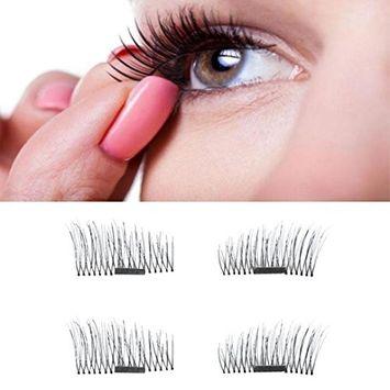 Binmer(TM) 4pcs Ultra-thin 0.5mm Magnetic Eye Lashes 3D Reusable False Magnet Eyelashes