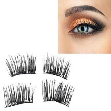Binmer(TM) NEW Ultra-thin 0.4mm Magnetic Eye Lashes 3D Mink Reusable False Magnet Eyelashes Extension (A)