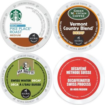 Faro Roasting Houses Decaf K-Cup Coffee 96 ct Variety Pack- Starbucks Pike Place, Green Mountain Vermont Country Blend, Van Houtte & Faro Swiss Water