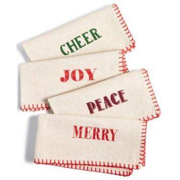 Holiday Typography Set of 4 Napkins