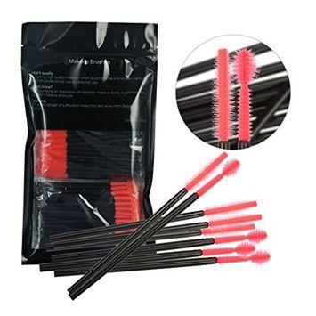 Binmer(TM) 100Pcs Disposable Silicone Eyelash Brushes Makeup Wands Mascara Wands (F)