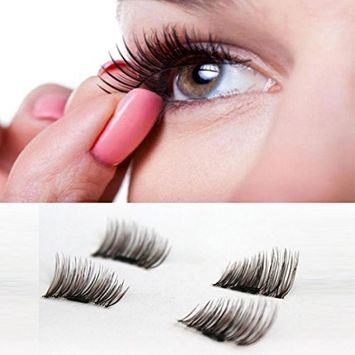 Binmer(TM) 4pcs (1 Pair) Magnetic Eye Lashes 3D Reusable False Magnet Eyelashes Extension