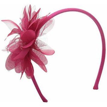 Gymboree Big Girls Dark Pink Flower Headband, Fuchsia Purple, One Size