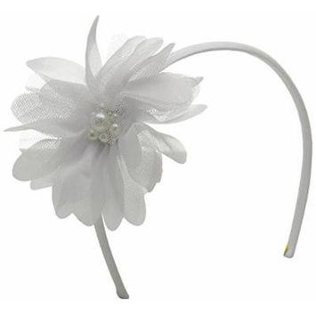 Gymboree Big Girls White Flower Headband, New Ivory, One Size