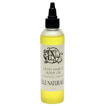 Light Hair & Body Oil by Elle Naturalle - All-Natural Color Safe Human & Synthetic Hair Oil and Full Body Oil - Giving Hair Nutrients Without Sacrifice - Great for Protective Styles - 4oz Bottle