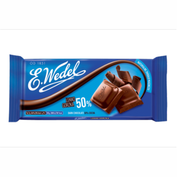 E. Wedel Czekolada Lekko Gorzka 50% Dark Chocolate 50% Cocoa Bar
