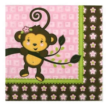 Big Dot of Happiness Pink Monkey Girl - Baby Shower or Birthday Party Luncheon Napkins (16 count)