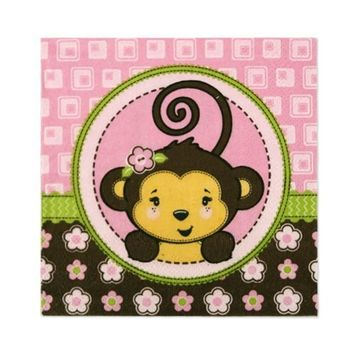 Pink Monkey Girl - Baby Shower or Birthday Party Cocktail Beverage Napkins (16 count)
