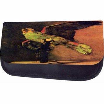 Van Gogh Green Parrot Jacks Outlet TM Nylon-Lined Cosmetic Case