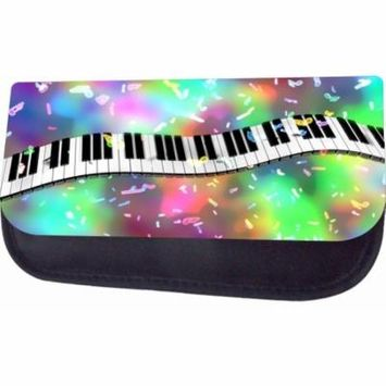 Colorful Piano Music Design Jacks Outlet TM Nylon-Lined Cosmetic Case