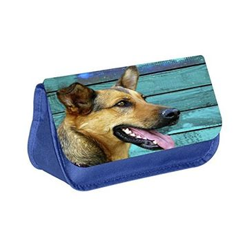 German Shepherd- Blue Multi-Purpose Cosmetic Case - Bag - with 2 Zippered Pockets and Nylon Lining
