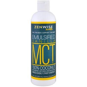 Zenwise Health, MCT Oil, 100% Coconut, Emulsified Vanilla , 12 fl oz (355 ml)
