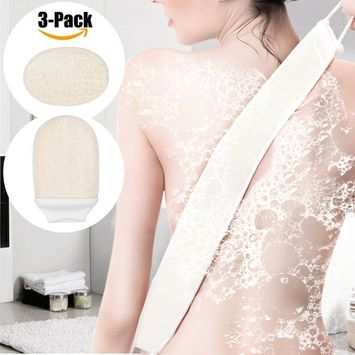 3 In 1 Set: Exfoliating Loofah Back Scrubber + Body Glove + Face Pad for Men and Women