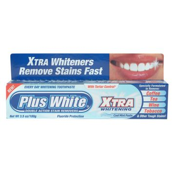 Plus White Xtra Whitening Toothpaste Cool Mint 3.5 Ounce Tube - CCA INDUSTRIES INC.