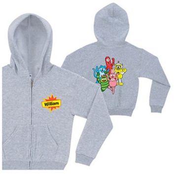 Personalized Yo Gabba Gabba! Friends Gray Toddler Zip-Up Hoodie
