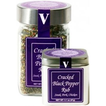 Cracked Black Pepper Rub – Victoria Taylor's 5.5 Oz Jar – made with Organic Whole Peppercorns to give this Spice Rub a Fresh Ground Black Pepper Taste – Great on Vegetable Dishes and Meats, try it on your favorite Microwave Popcorn too!