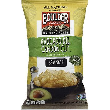 Boulder Canyon Avocado Oil Canyon Cut Sea Salt Potato Chips, 5.25 oz, (Pack of 12)