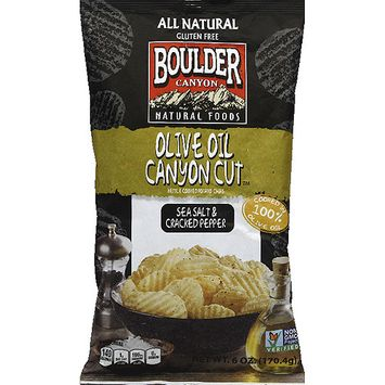 Boulder Canyon Olive Oil Canyon Cut Sea Salt & Cracked Pepper Potato Chips, 6 oz, (Pack of 12)