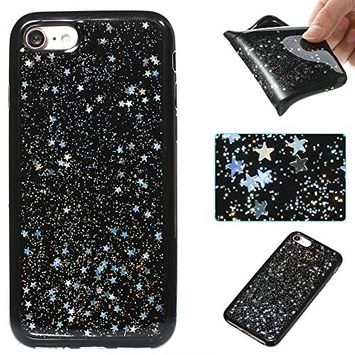 Urberry iPhone 7/iPhone 8 Case, Bling Sparkling Starry Glitter Case for iPhone 7/8 with a Free Screen Protector