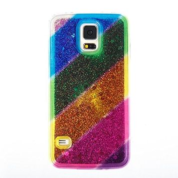 Urberry Galaxy S5 Case, Spark Glitter Running Liquid Case for Samsung Galaxy S5 with a Free Screen Protector
