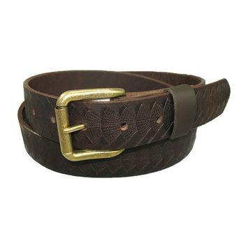 Mens Handmade Genuine Solid Reptile Weave Embossed Buffalo Leather Belt - 1-1/4
